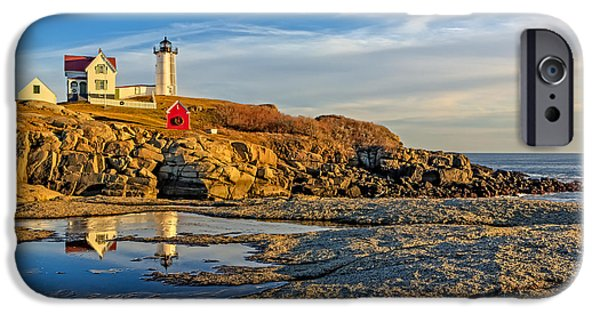 Maine iPhone Cases - Nubble Lighthouse Reflections iPhone Case by Susan Candelario
