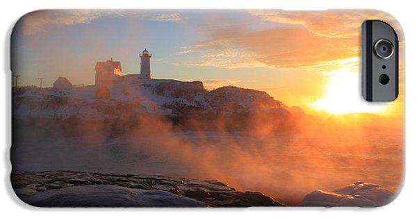 Nubble Lighthouse iPhone Cases - Nubble Lighthouse Sea Smoke Sunrise iPhone Case by John Burk