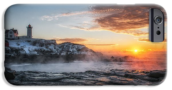 Cape Neddick Lighthouse iPhone Cases - Nubble Lighthouse Sea Smoke Sunrise iPhone Case by Scott Thorp