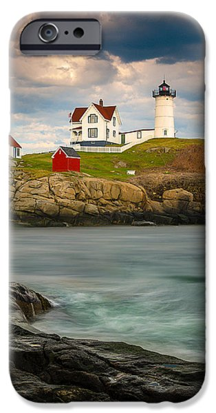 Nubble Lighthouse iPhone Cases - Nubble Lighthouse iPhone Case by Steve Zimic