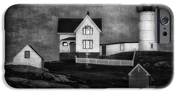 Cape Neddick Lighthouse Digital Art iPhone Cases - Nubble Lighthouse Texture BW iPhone Case by Jerry Fornarotto