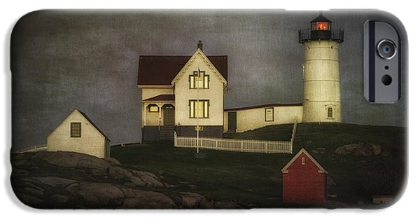 Cape Neddick Lighthouse Digital Art iPhone Cases - Nubble Lighthouse Texture iPhone Case by Jerry Fornarotto