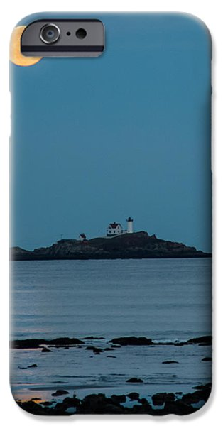 Cape Neddick Lighthouse iPhone Cases - Nubble lighthouse under full moon iPhone Case by Jeff Folger