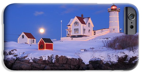 Nubble Lighthouse iPhone Cases - Nubble Lighthouse Winter Moon iPhone Case by John Burk