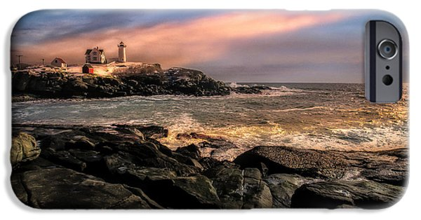Nubble Lighthouse iPhone Cases - Nubble Lighthouse Winter Solstice Sunset iPhone Case by Bob Orsillo