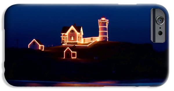 Cape Neddick Lighthouse Digital Art iPhone Cases - Nubble lighthouse with Christmas Lights iPhone Case by Jeff Folger