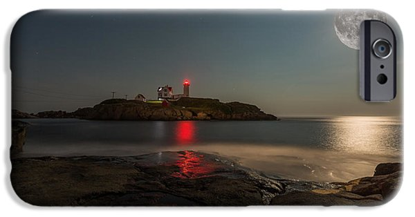 Recently Sold -  - Nubble Lighthouse iPhone Cases - Nubble Moon iPhone Case by James Weyand