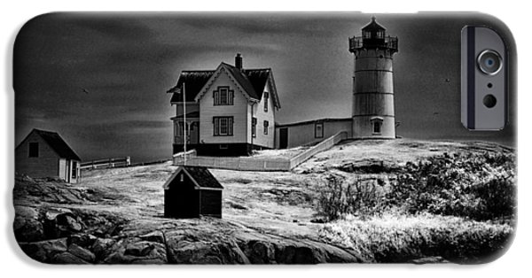 Nubble Lighthouse iPhone Cases - Nubble Night iPhone Case by Tricia Marchlik