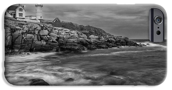 Cape Neddick Lighthouse iPhone Cases - Nubble Storm iPhone Case by Scott Thorp