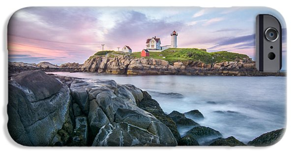 Nubble Lighthouse iPhone Cases - Nubble Sunset iPhone Case by Scott Thorp