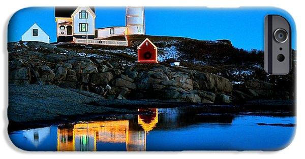Nubble Lighthouse iPhone Cases - Nubbles Reflection iPhone Case by Greg Kretschmar