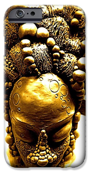 Meditation Sculptures iPhone Cases - Nubia Indigo  iPhone Case by Donna Lee Bolden Kerr