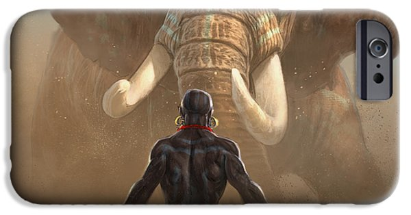 Elephants iPhone Cases - Nubian Warriors iPhone Case by Aaron Blaise