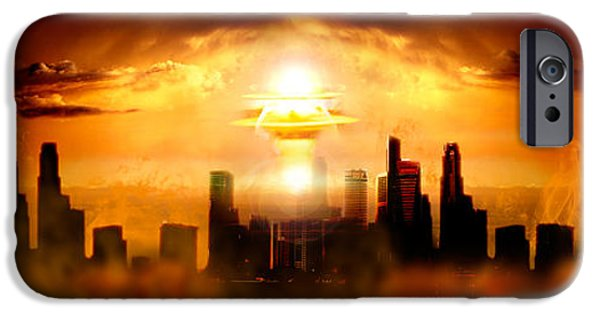 Blast iPhone Cases - Nuclear Blast Behind City iPhone Case by Panoramic Images
