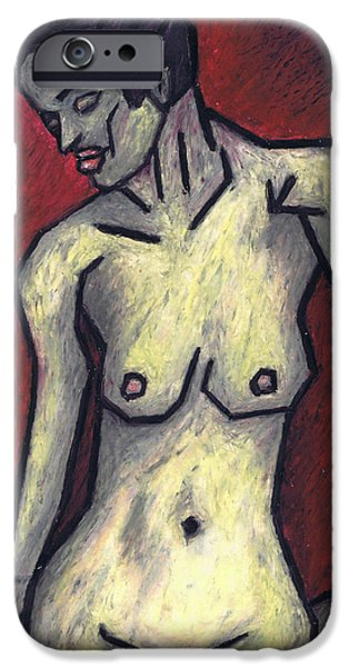 Expressionism Pastels iPhone Cases - Nude 2 - 2010 Series iPhone Case by Kamil Swiatek