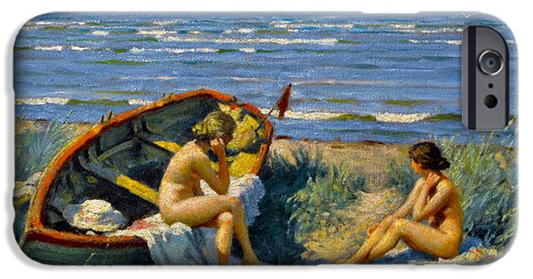 Fischer Boat iPhone Cases - Nude Bathers With A Boat iPhone Case by Paul Gustav Fischer