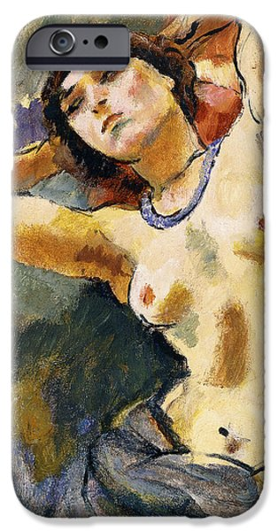 Hairstyle iPhone Cases - Nude Brunette with Blue Necklace Nu La Brune au Collier Bleu iPhone Case by Jules Pascin