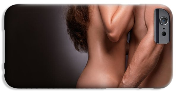 Women Together iPhone Cases - Nude couple naked bodies iPhone Case by Oleksiy Maksymenko