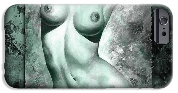 Nudes Digital Art iPhone Cases - Nude details - Digital color version frame Aqua black iPhone Case by Emerico Imre Toth