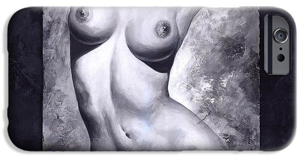 Model iPhone Cases - Nude details - Digital color version frame blue iPhone Case by Emerico Imre Toth