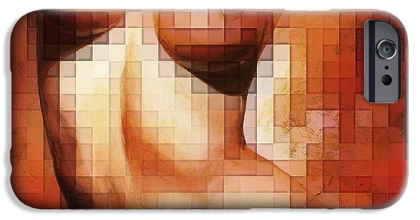 Nudes Digital Art iPhone Cases - Nude details - Digital soft version iPhone Case by Emerico Imre Toth