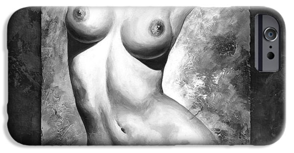 Figures Digital Art iPhone Cases - Nude details - Style Black and White iPhone Case by Emerico Imre Toth