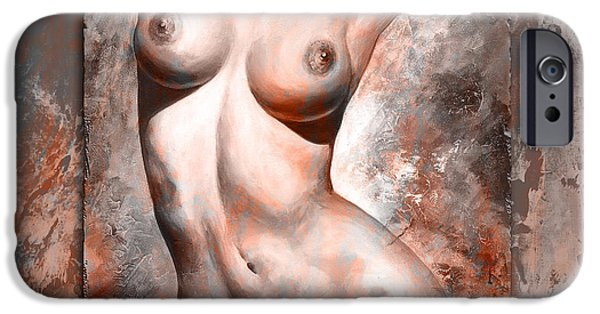 Modern Abstract iPhone Cases - Nude Details style version brick and gray iPhone Case by Emerico Imre Toth