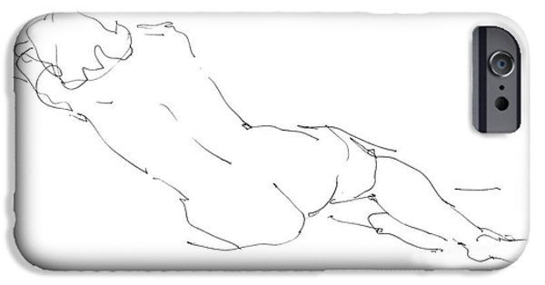 Female Drawings iPhone Cases - Nude Female Drawings 9 iPhone Case by Gordon Punt