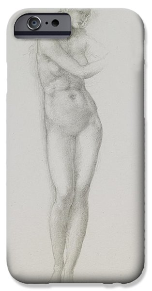 Mythological iPhone Cases - Nude female figure study for Venus from the Pygmalion Series iPhone Case by Sir Edward Coley Burne-Jones
