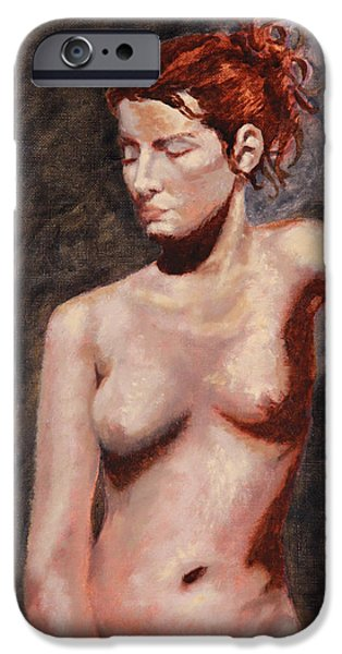Gray Hair iPhone Cases - Nude French Woman iPhone Case by Shelley Irish