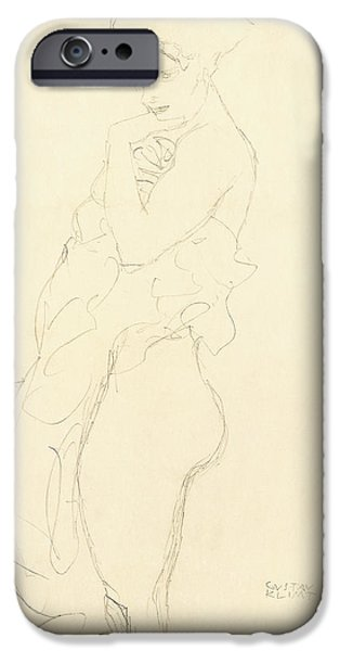 On Paper Paintings iPhone Cases - Nude iPhone Case by Gustav Klimt