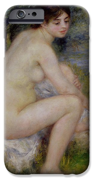 Nudes Paintings iPhone Cases - Nude in a Landscape iPhone Case by Pierre Auguste Renoir