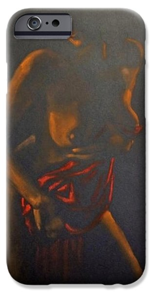 Chiaroscuro iPhone Cases - Nude in darkness iPhone Case by Dorina  Costras