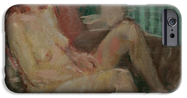 Bathing iPhone Cases - Nude In Old Tub, 2008 Oil On Canvas iPhone Case by Pat Maclaurin