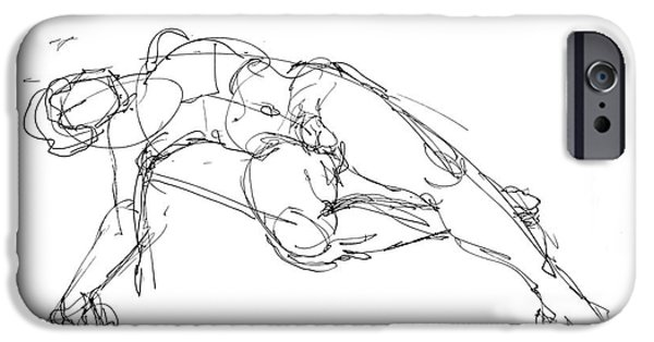 Male Nude Drawing Drawings iPhone Cases - Nude Male Drawings 1 iPhone Case by Gordon Punt