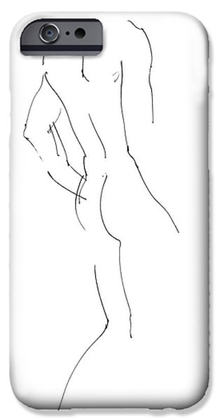 Lines Drawings iPhone Cases - Nude Male Drawings 2 iPhone Case by Gordon Punt