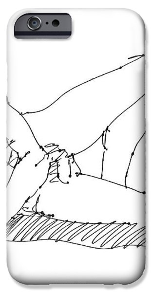 Nude Male Drawings 5 iPhone Case by Gordon Punt