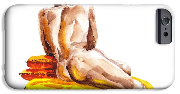 Figures Paintings iPhone Cases - Nude Male Model Study VI iPhone Case by Irina Sztukowski