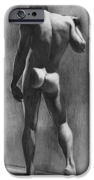 Male Nude Drawing Drawings iPhone Cases - Nude Man in Contemplation Drawing iPhone Case by Karon Melillo DeVega