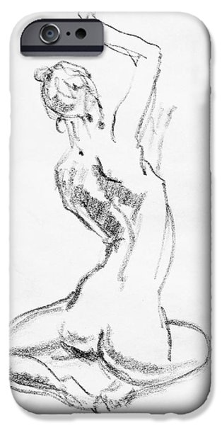 Abstract Shapes Drawings iPhone Cases - Nude Model Gesture V iPhone Case by Irina Sztukowski