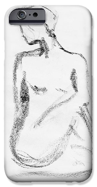 Lines Drawings iPhone Cases - Nude Model Gesture VI iPhone Case by Irina Sztukowski