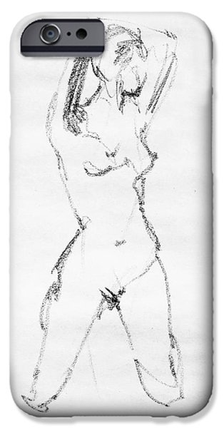 Abstract Shapes Drawings iPhone Cases - Nude Model Gesture VII iPhone Case by Irina Sztukowski