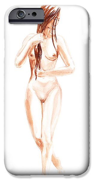 Young Paintings iPhone Cases - Nude Model Gesture XIII Morning Flow iPhone Case by Irina Sztukowski