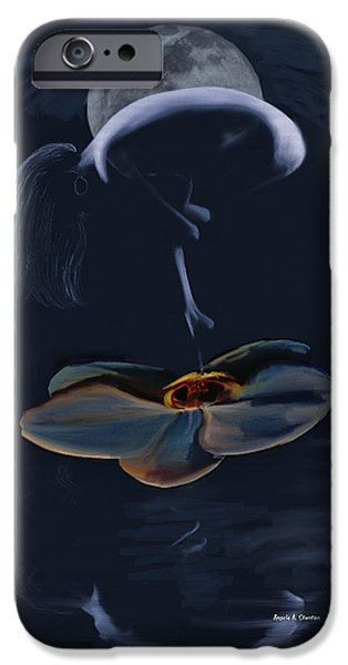 Night Angel iPhone Cases - Nude on a Lilly Pad in Moonlight iPhone Case by Angela A Stanton