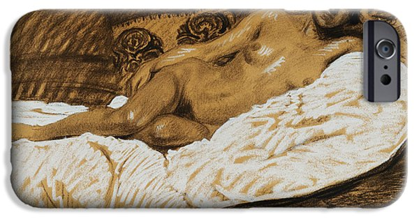 Feminine Pastels iPhone Cases - Nude Outstretched iPhone Case by Theophile Alexandre Steinlen