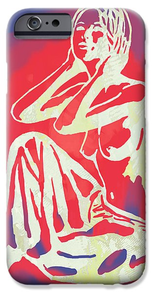 Charcoal Mixed Media iPhone Cases - Nude - pop art etching poster 2 iPhone Case by Kim Wang