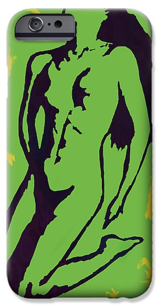 Charcoal Mixed Media iPhone Cases - Nude - pop art etching poster 8 iPhone Case by Kim Wang