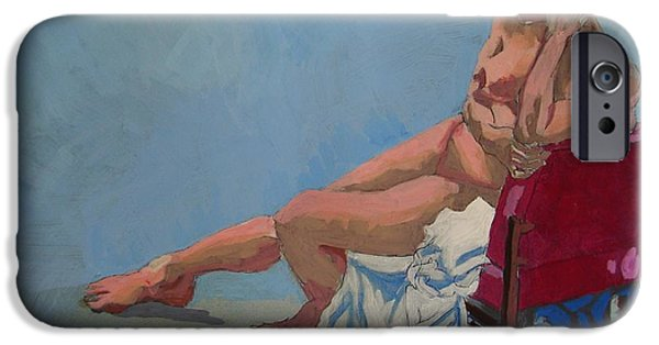 Back To Life Drawings iPhone Cases - Nude Sitting In Red Chair iPhone Case by Mike Jory