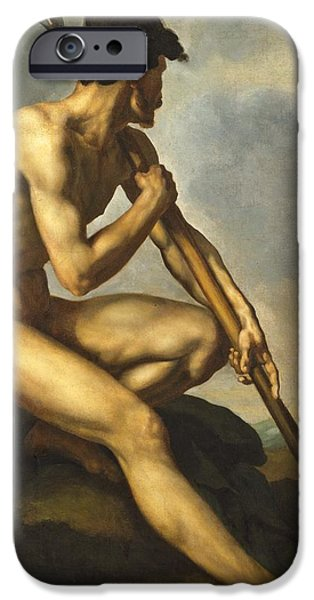 Weapon Paintings iPhone Cases - Nude Warrior with a Spear iPhone Case by Theodore Gericault