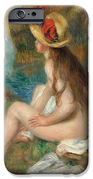 Renoir iPhone Cases - Nude with a Straw Hat Beside the Sea iPhone Case by Pierre Auguste Renoir